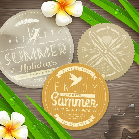 Vintage paper labels with vacation and travel emblems and tropical flowers on a wooden surface -  illustration