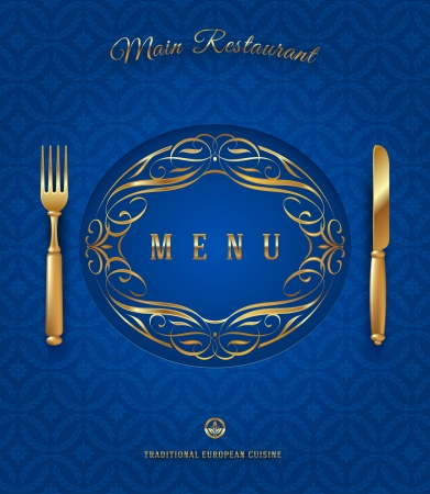 Menu with golden cutlery and ornate elements - vector illustration Vector