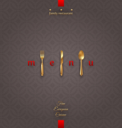 Ornate cover menu with golden cutlery - vector illustration Vector
