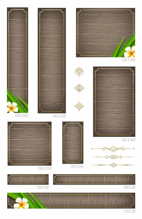vertical divider: Wooden backgrounds with tropical flowers and decorative elements - set of standard vector web banners