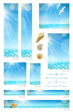 Sunny seascape backgrounds, sea animals and decorative dividers - set of standard vector web banners Illustration
