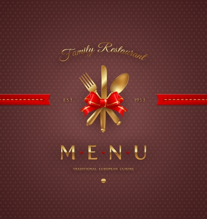 Ornate cover menu with golden cutlery and lettering - vector illustration