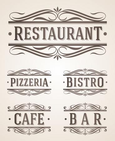 vintage: Старинные этикетки ресторан и кафе и знаки - векторные иллюстрации