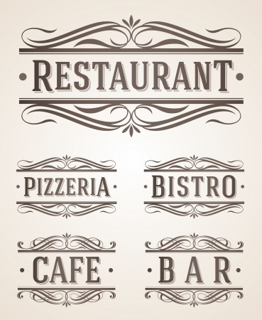 Vintage restaurant and cafe labels and signs - vector illustration Vector
