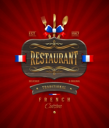 Decorative vintage wooden sign of French restaurant with golden decor and lettering - vector illustration Illustration