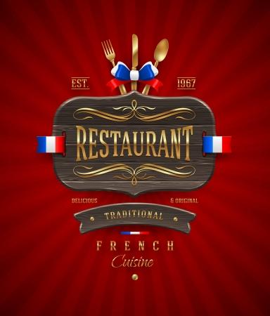 restaurante: Placa de madeira do vintage decorativo do restaurante francês com decoração dourada e letras - ilustração do vetor