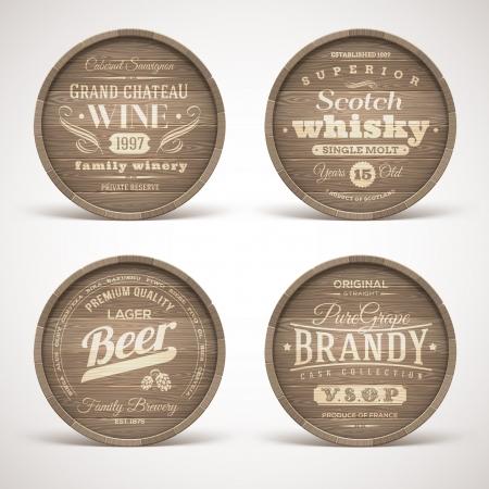 cerveza: Conjunto de barriles de madera con alcohol bebidas emblemas - ilustraci�n vectorial