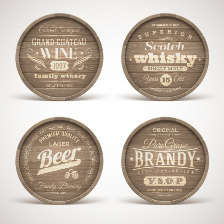 wooden barrel: Set of wooden casks with alcohol drinks emblems - vector illustration