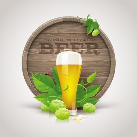 Stilleven met houten vat, bierglas en rijpe hop en bladeren - vector illustratie