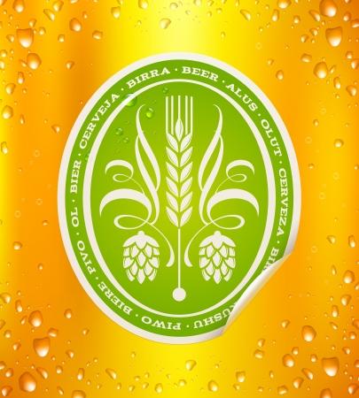ječmen: Pivo štítek na pivo pozadí s kapkami - vektorové ilustrace