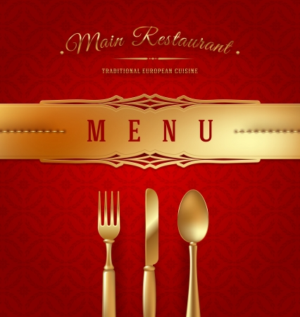 Menu cover with golden cutlery and decorative elements - vector illustration Vector