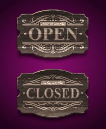 letrero: Abierto y cerrado signos de madera adornado de la vendimia - ilustración vectorial