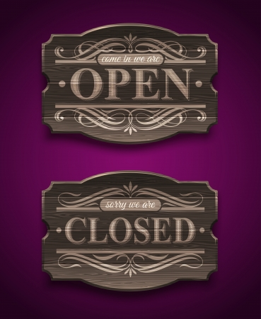 Open and Closed wooden ornate vintage signs - vector illustration Vector