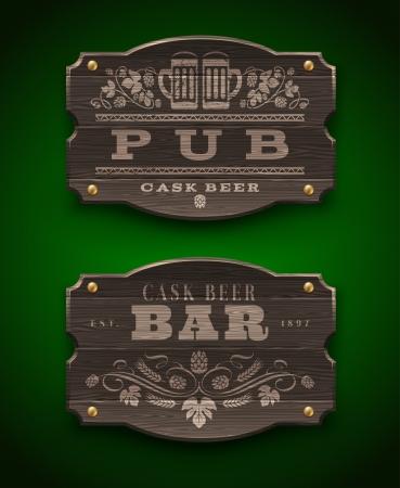 cerveza negra: Señales de madera vintage para Pub y Bar - ilustración vectorial