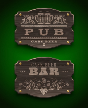 draught: Vintage wooden signs for Pub and Bar - vector illustration Illustration