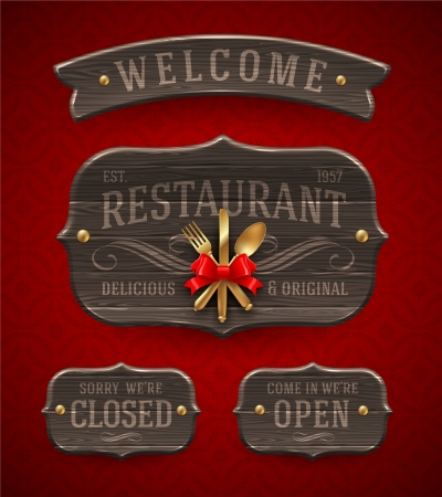closed ribbon: Set of vintage wooden  Restaurant signs with decor and golden cutlery - vector illustration