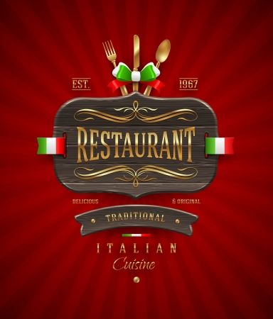 ornament menu: Decorative vintage wooden sign of Italian restaurant with golden decor and lettering - vector illustration