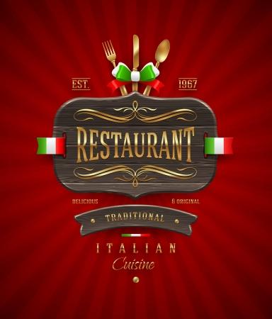 meny: Dekorativa årgång träskylt på italiensk restaurang med guld dekor och bokstäver - vektor illustration