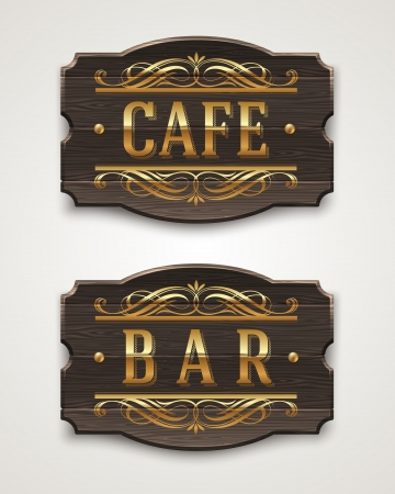 Vintage wooden signs for cafe and bar with golden lettering and decorative elements - vector illustration Vector