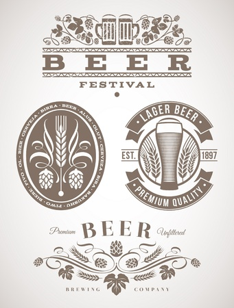 glass of beer: Bier emblemen en etiketten - vector illustratie