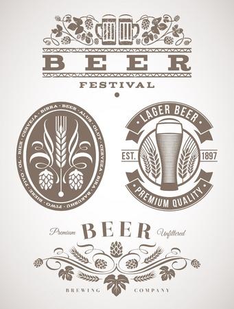 ječmen: Pivo emblémy a štítky - vektorové ilustrace
