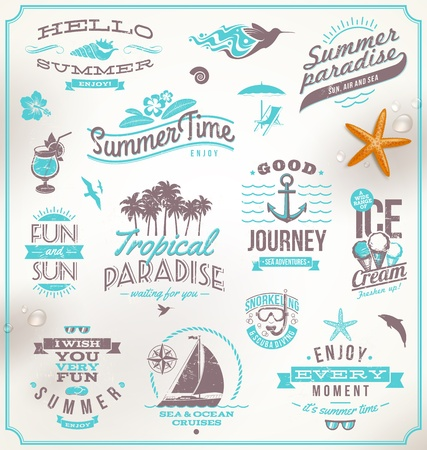 on palm tree: Vector set of travel and vacation emblems and symbols Illustration