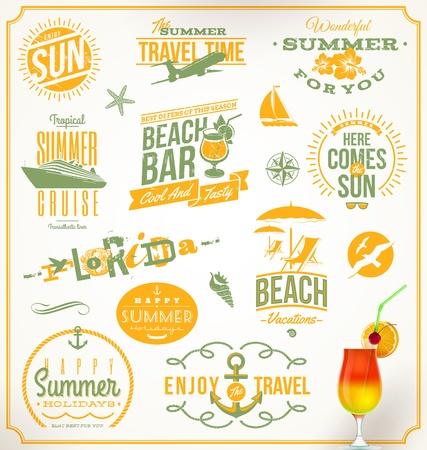 여행 및 휴가 상징과 기호의 벡터 설정
