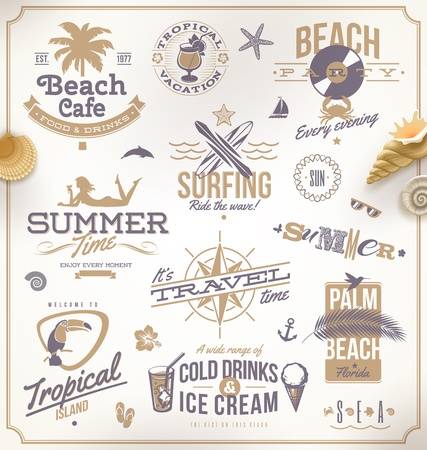 compass rose: Vector set of travel and vacation emblems and symbols Illustration