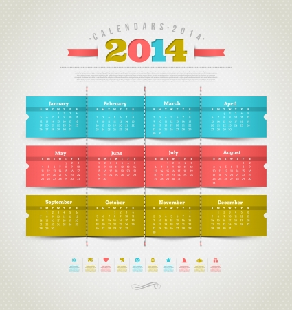 Vector template design - calendar of 2014 with holidays icons Vector