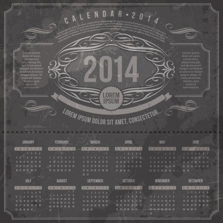 Vector template design - Ornate vintage calendar of 2014 on a grunge black background Stock Vector - 21722638