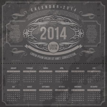 Vector template design - Ornate vintage calendar of 2014 on a grunge black background Stock Vector - 21722638