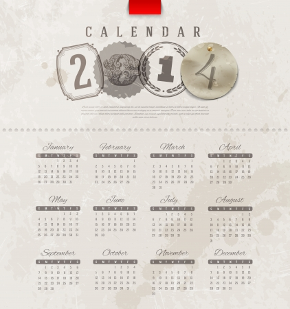Vector template design - Grunge vintage calendar of 2014 with decorative lettering elements Stock Vector - 21722640