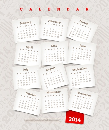 Vector template design - Decorative calendar of 2014
