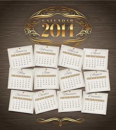 Vector design template - Calendar of 2014 with golden ornate elements on a wooden background Vector