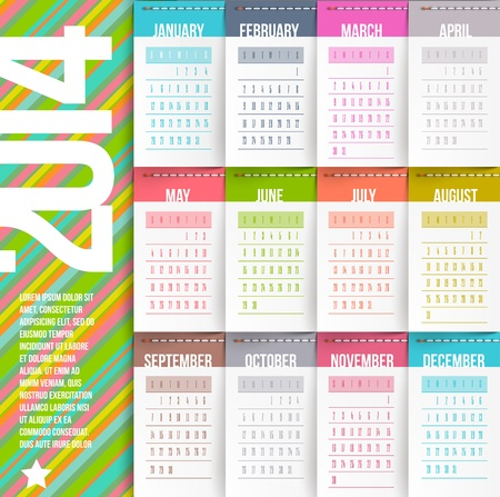 Vector design template - Calendar of 2014 with stitched labels-months Illustration