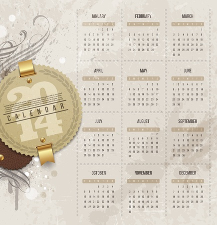 Vector design template - Calendar of 2014 with vintage labels and grunge elements Vector