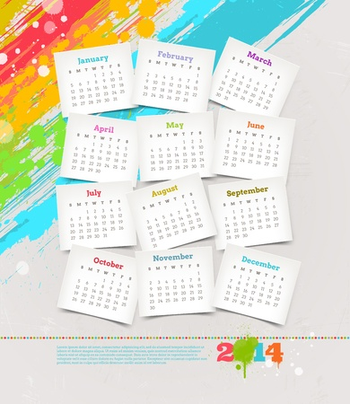 Vector design template - Cardboards with calendar of 2014 on a grunge colorful painted background Vector