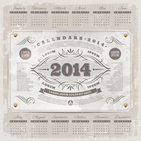 Vector lettering template design - Ornate vintage calendar of 2014 on a grunge background Stock Vector - 21722648