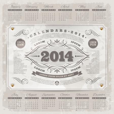 Vector Schriftzug Template-Design - Kunstvolle Jahrgang Kalender 2014 auf einem Grunge-Hintergrund