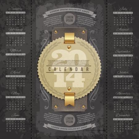 calendar date: Vector lettering design template - Calendar of 2014 with vintage labels and grunge elements Illustration