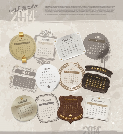 Vector design template with grunge vintage calendar of 2014 - different frames and labels for each month Illustration