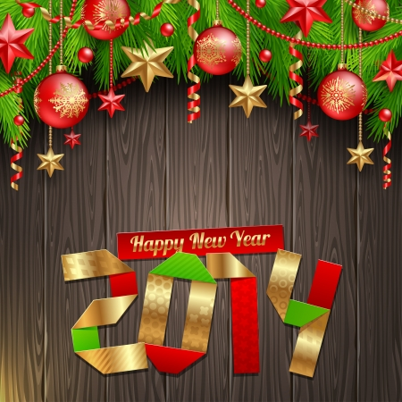 2014 new year greeting with holidays Vector