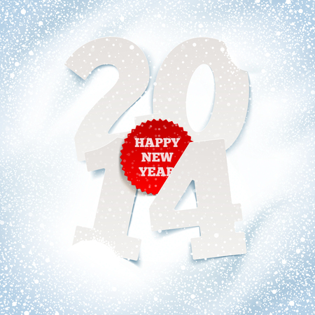 2014 new year - holidays greeting with paper numbers in the snow Illustration