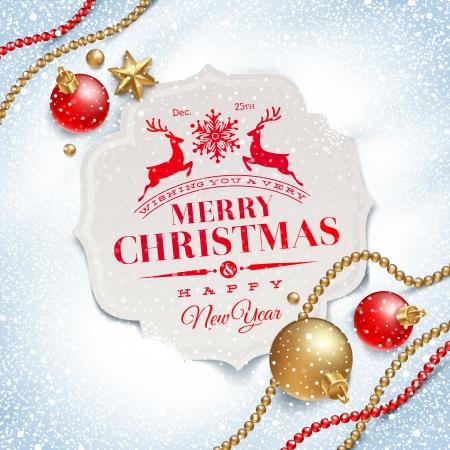 christmas: Vektör çizim - kar üzerinde Noel tebrik kartı ve dekor