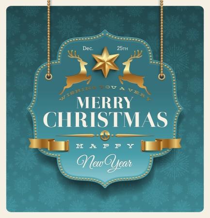 クリスマスの休日で華やかなラベル挨拶 - ベクトル イラスト  イラスト・ベクター素材