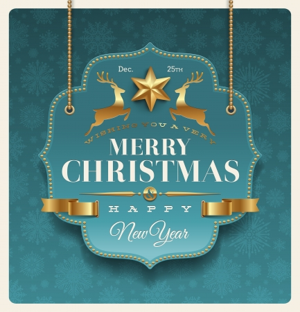 Christmas ornate labels with holidays greeting - vector illustration Vector