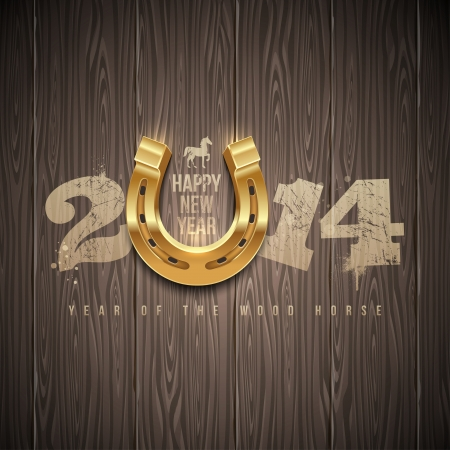 New 2014 year - holidays vector design with painted numbers and golden horseshoe on a wooden background Illustration