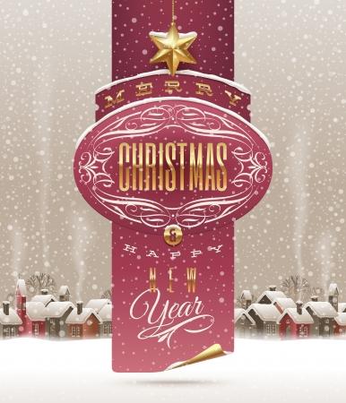 the decor: Vacaciones de Navidad pancarta de saludo con un paisaje de invierno con el pueblo de nieve cowered - ilustraci�n vectorial Vectores