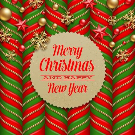 felicitaciones navide�as: Vector de fondo de Navidad, decoraci�n y cart�n etiquetas con saludos