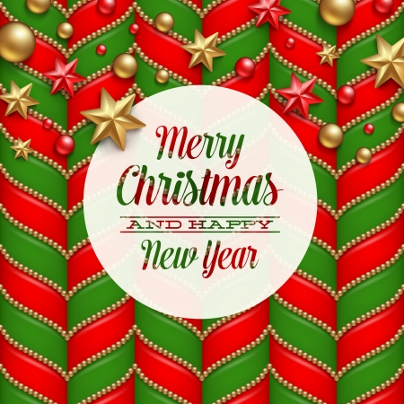 Christmas vector background, decor and label with holidays greetings Ilustracja